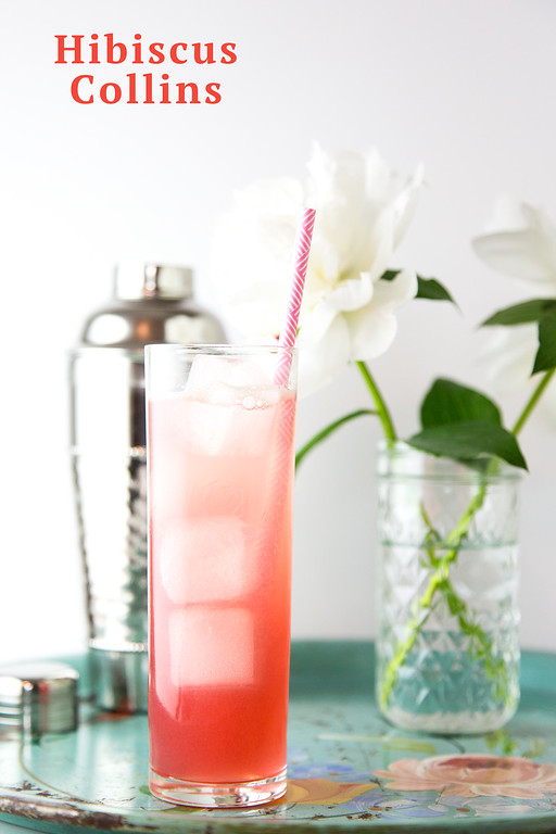 Hibiscus Collins - a pretty gin cocktail!