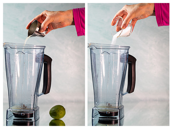 Photo collage showing lime juice and sugar being added to a blender.