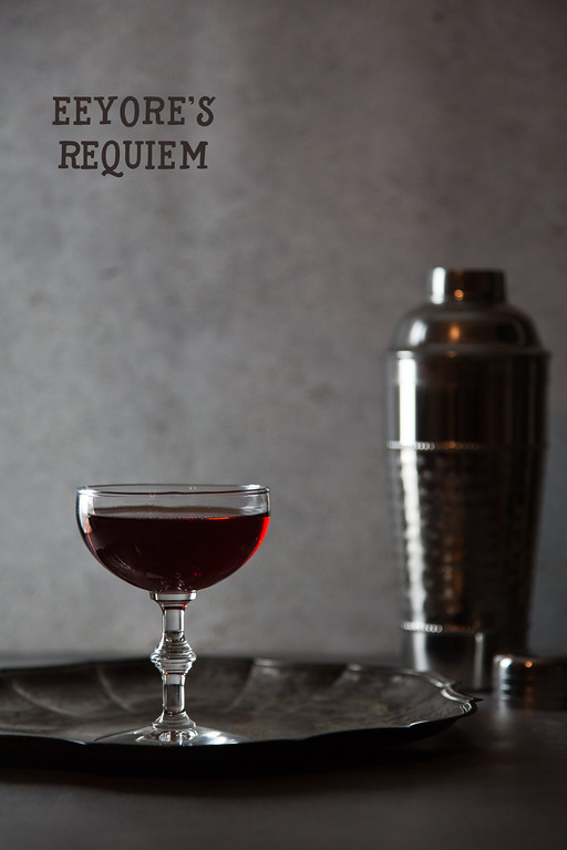 Eeyore's Requiem - a mysterious deep red cocktail.