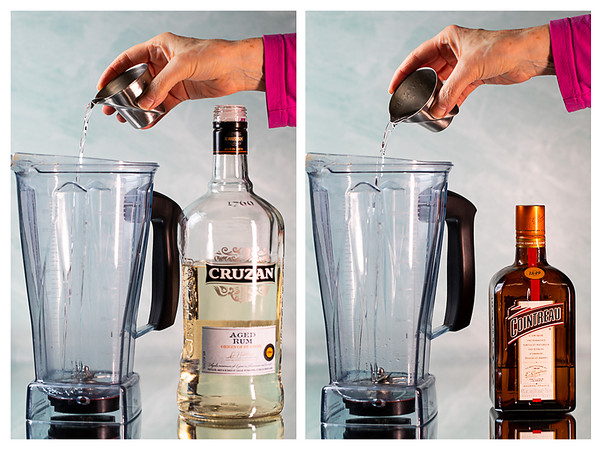 Photo collage showing rum and orange liqueur being poured into a Vitamix blender.
