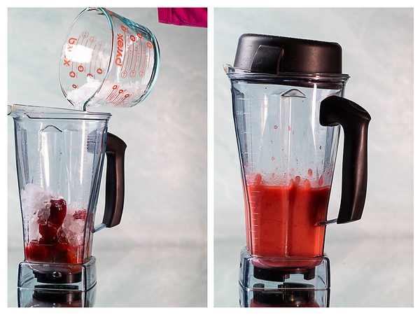 Photo collage showing ice added to a blender and then the blended frozen strawberry daiquiri.