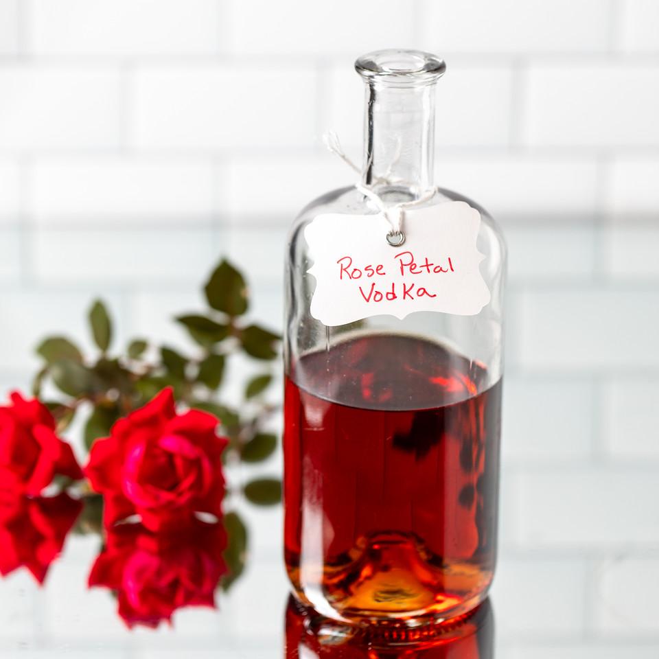 Bottle of rose vodka.