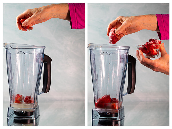 Photo collage showing fresh and frozen strawberries being added to a blender.