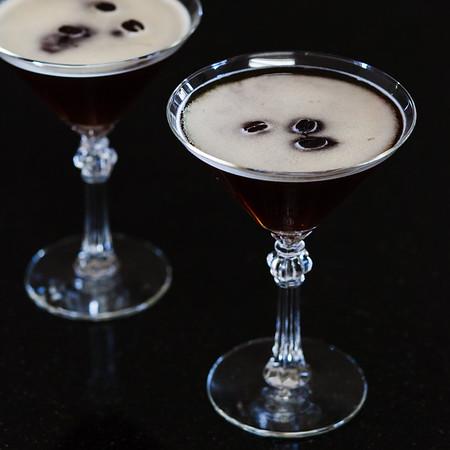 Two martini glasses with espresso martini