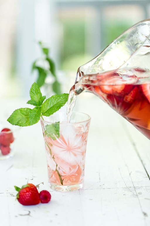 Rosè Sangria with strawberries and raspberries