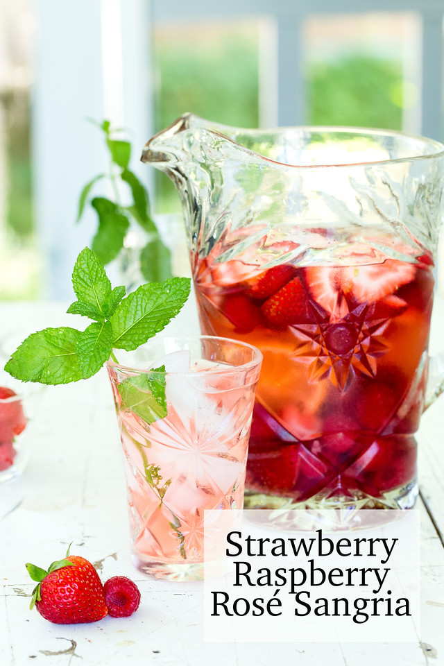 Pitcher of strawberry raspberry rose sangria