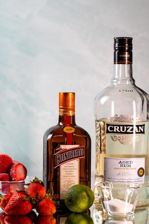Strawberries, cointreau, lime, sugar and rum.