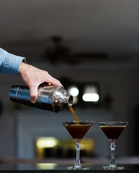 Espresso Martini being poured into glasses