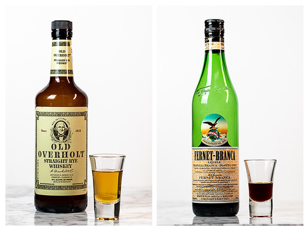 Photo collage showing the whiskey and the Fernet-Branca for a Toronto Cocktail.