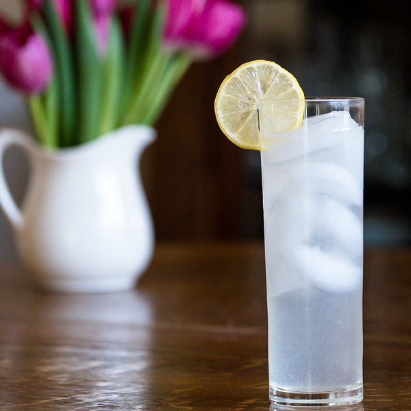 Tom Collins in a tall glass with a lemon slice.