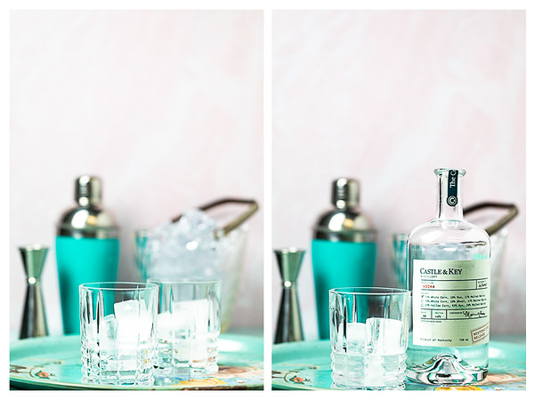 Photo collage showing the first two steps for building a vodka sour.