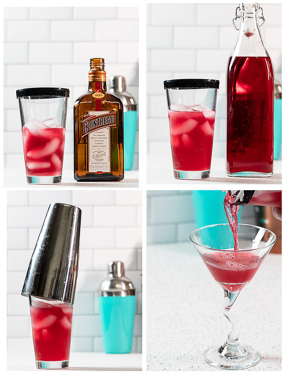 Collage showing the last four steps for making a cosmopolitan.
