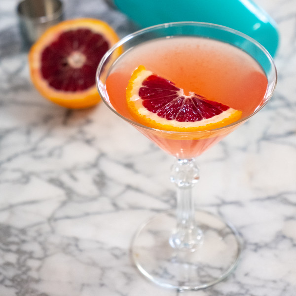 Overhead shot of blood orange martini.