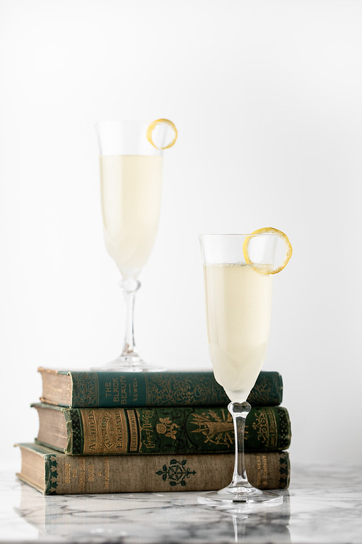 Two glasses of a French 77 cocktail.