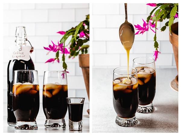 Adding coffee liqueur and sweetened condensed milk to make boozy Vietnamese Iced Coffee.