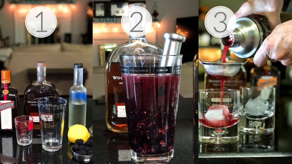 Photo collage showing the 3 steps to making a blackberry whiskey sour.