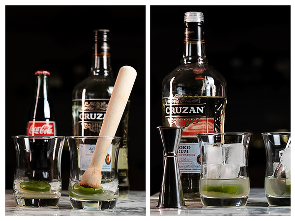 Photo showing the steps to making a Cuba Libre Cocktail.