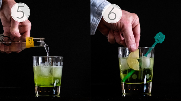 Photo showing steps 5 and 6 on how to make a midori gin and tonic
