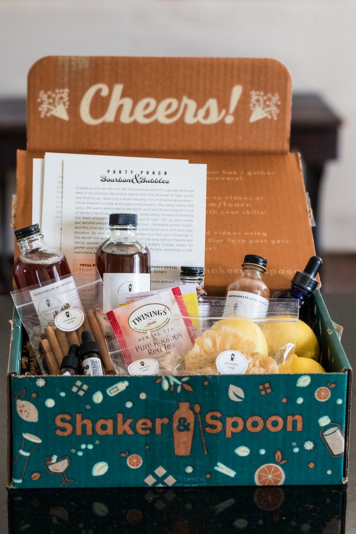 Shaker & Spoon Subscription box and the items in it.
