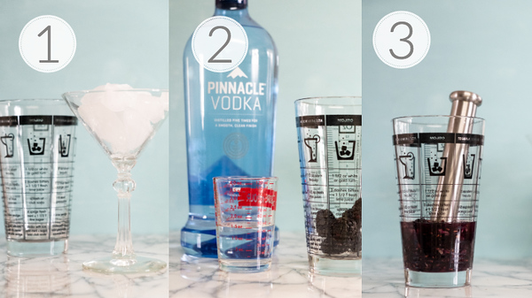 Photo collage showing steps 1, 2, and 3 for making a blackberry martini.