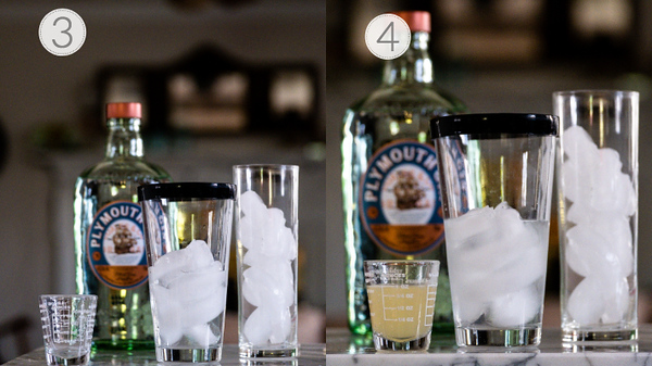 Photo showing steps 3 and 4 for making a Tom Collins