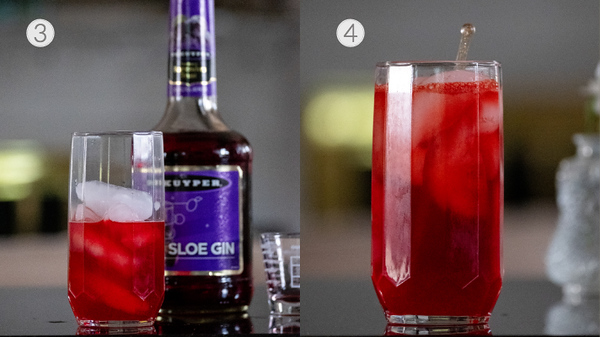 Photo collage showing last two steps for making a sloe gin collins