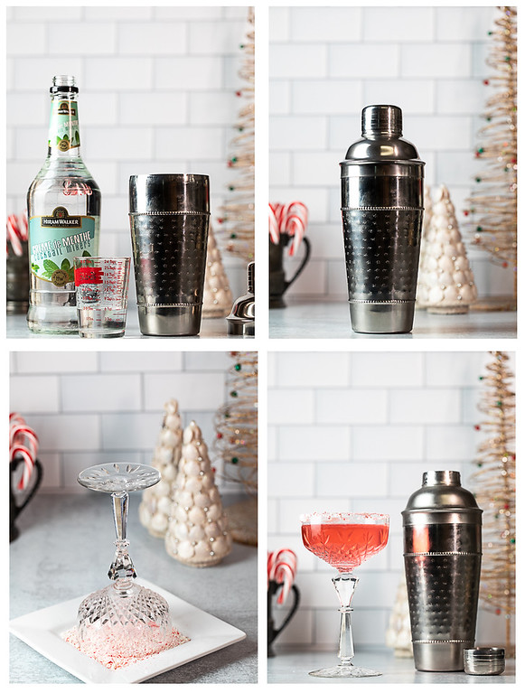 Photo collage showing the last four steps for making a peppermint martini.