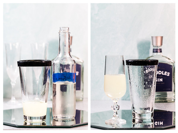 Photo collage showing simple syrup being added to cocktail shaker and cocktail in glass.