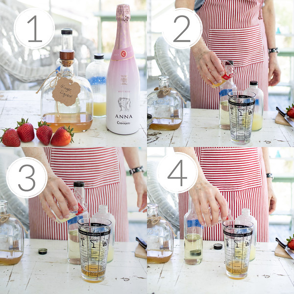 Photo collage showing step by step the first 4 steps to making a bellini.
