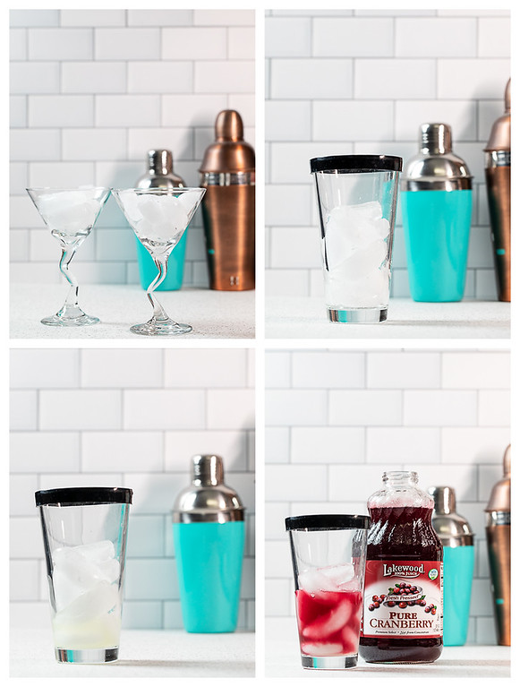 Collage showing the first four steps for making a cosmo martini.