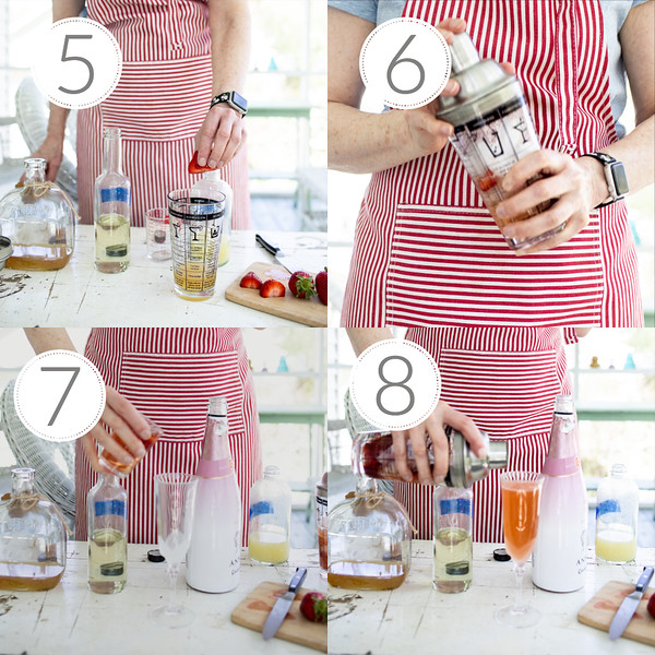 Photo collage showing steps 5-8 for making strawberry bellini
