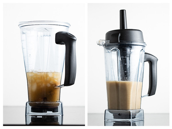 Two photos side by side showing the daiquiri being made in a blender.
