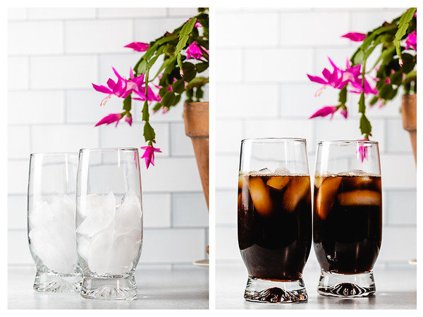Photo collage showing glass filled with ice and then coffee added.