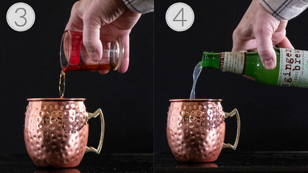 Photo collage of steps 3 and 4 for making a spicy moscow mule