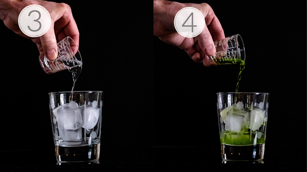 Photo collage showing steps 3 and 4 for making a midori gin and tonic
