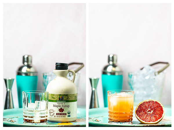 Photo collage showing maple syrup and grapefruit juice added to the cocktail glass.
