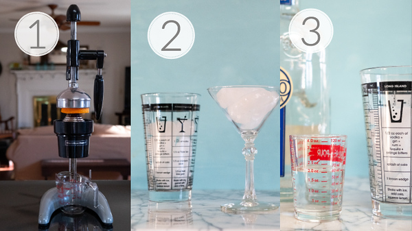 Steps 1, 2, and 3 for making a blood orange martini.