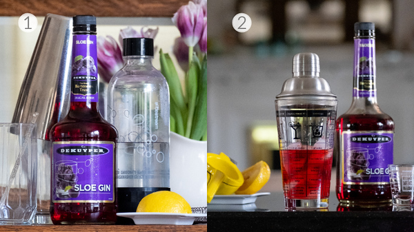 First two steps for making a sloe gin fizz