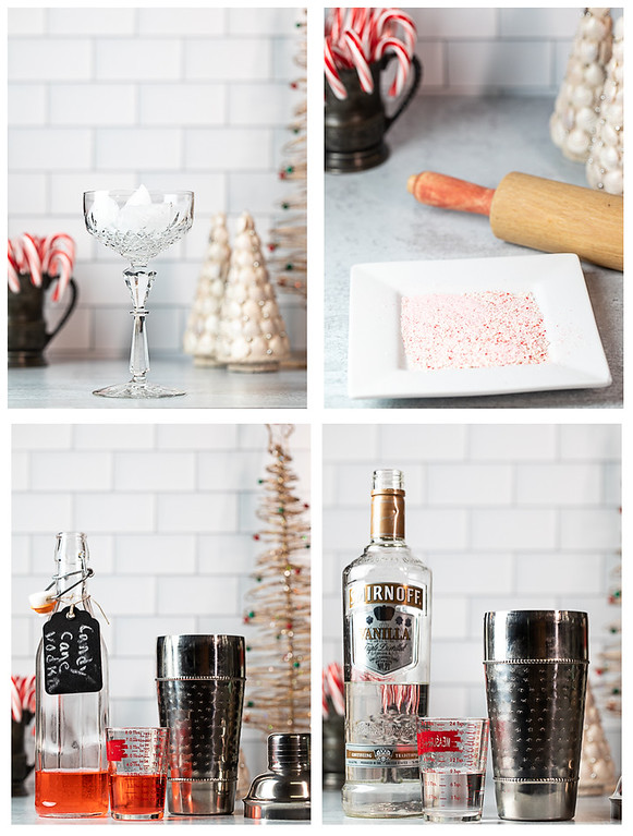 Photo collage showing the first four steps for making a candy cane martini.