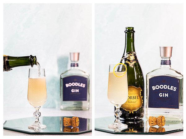 Collage showing champagne being added to French 75 cocktail and finished cocktail.