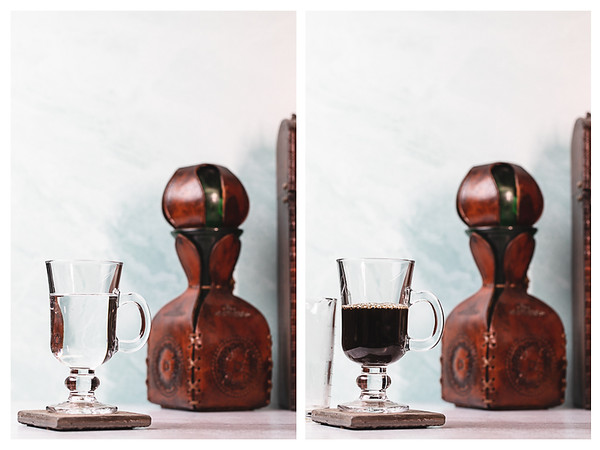 Two photos showing an Irish whiskey glass with water and then with coffee.