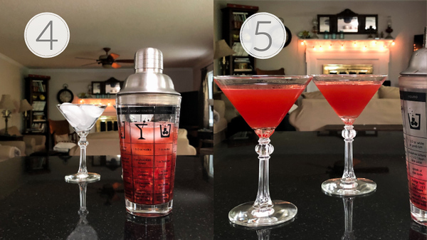 Photo collage showing steps 4 and 5 for making raspberry martini