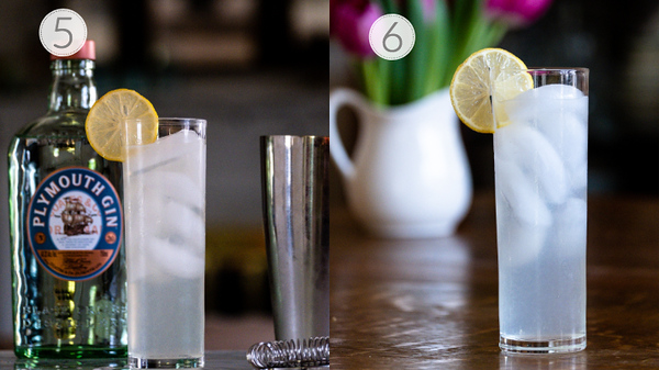 Photo showing steps 5 and 6 for making a Tom Collins