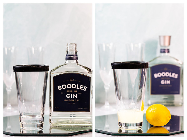 Photo collage showing gin and lemon juice in a cocktail shaker.