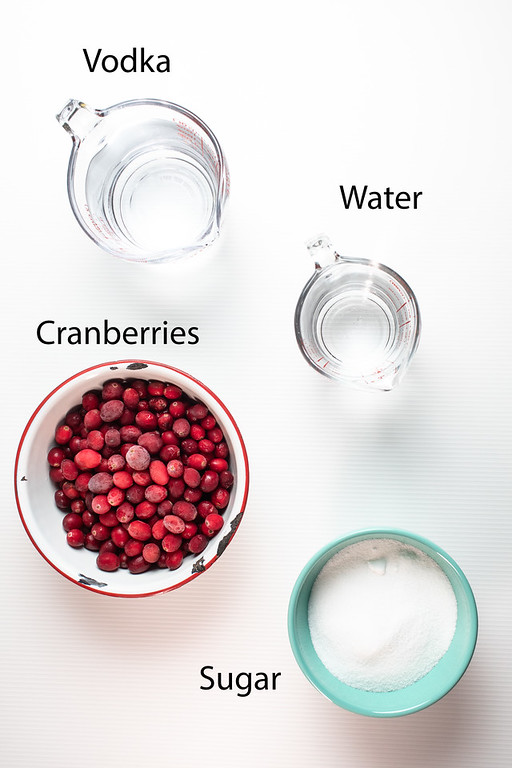 Vodka, water, cranberries and sugar to make cranberry liqueur.