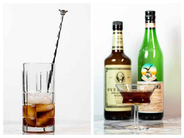 Collage showing the last two steps for making a Toronto Cocktail.