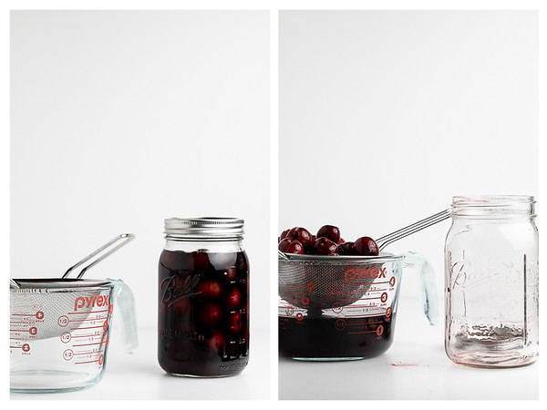 Photo showing the two steps for straining cherry bourbon.
