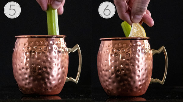 Photo collage show steps 5 and 6 of making a spicy moscow mule