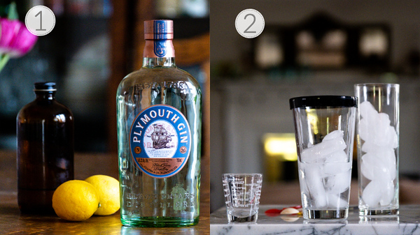 Photo showing steps 1 and 2 for making a tom collins.