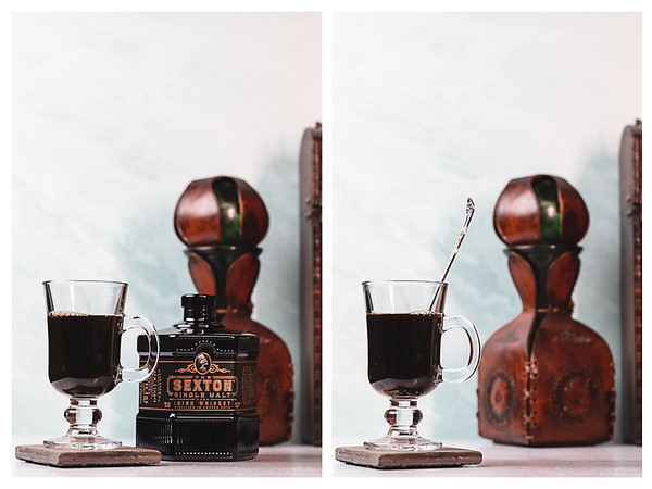 Photo collage showing whiskey and sugar added to the coffee.